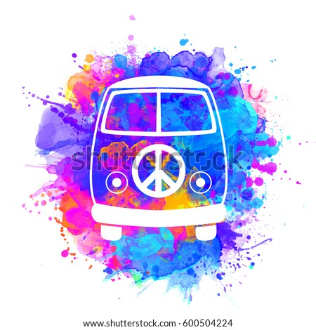 Hippie vintage car a mini van watercolor color vector illustration. Retro 1960s, 60s, 70s