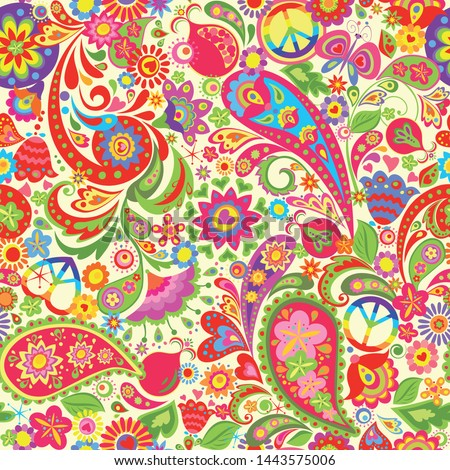 Hippie vivid colorful wallpaper with abstract flowers, hippie peace symbol with rainbow, butterfly, pomegranate and paisley