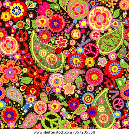 hippie wallpaper with colorful