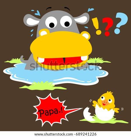 hippo and little duck, vector cartoon illustration