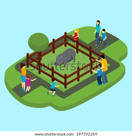 hippo and zoo with fence and