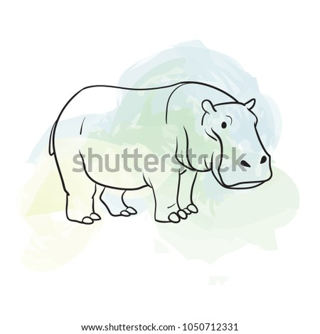 Hippo. Animal sketch on grungy background.