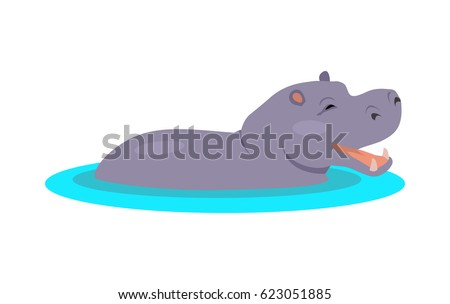 Hippo cartoon character. Funny hippopotamus in water flat vector isolated on white. African fauna. Hippo icon. Wild animal illustration for zoo ad, nature concept, children book illustrating