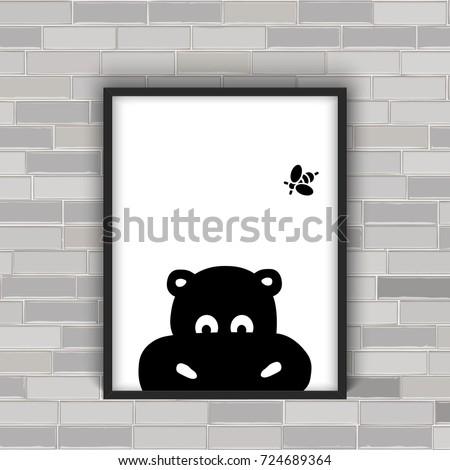 hippo cartoon face in the frame