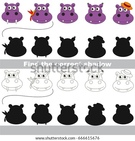 Hippo Faces set to find the correct shadow, the matching educational kid game to compare and connect objects and their true shadows, simple gaming level for preschool kids.