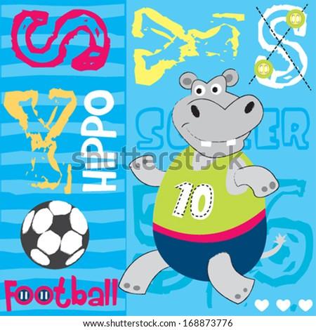 hippo football player vector illustration