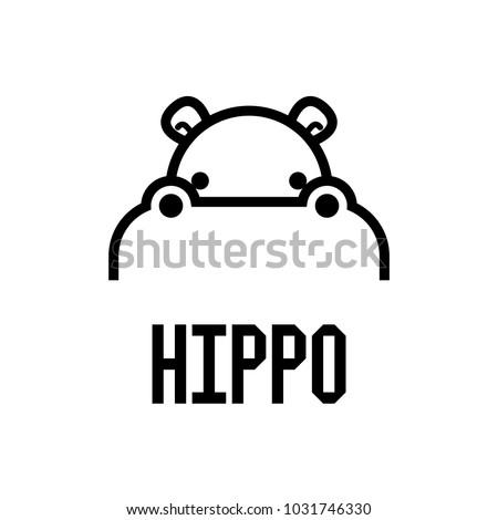 Hippo Head Logo design vector template. Hippopotamus animal Logotype concept lineart style. Vector illustration.