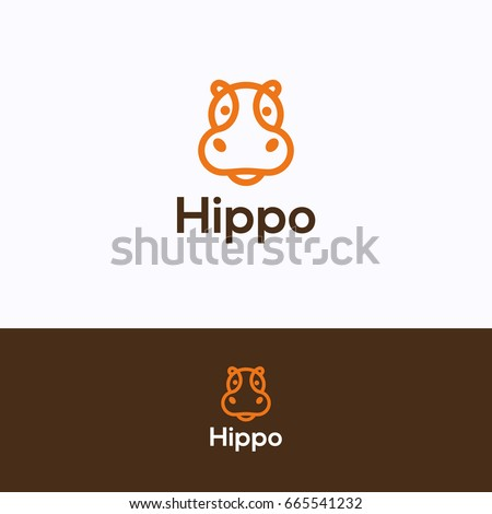 Hippo head logo. Hippopotamus orange dark-brown logotype in line style. Friendly retail hippo logo template