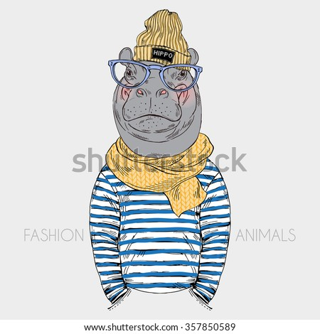 hippo hipster dressed up in frock and knitted scarf, furry art fashion illustration