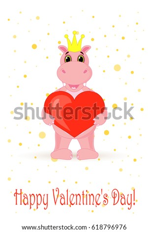 Hippo holding heart on white background in vector. #618796976