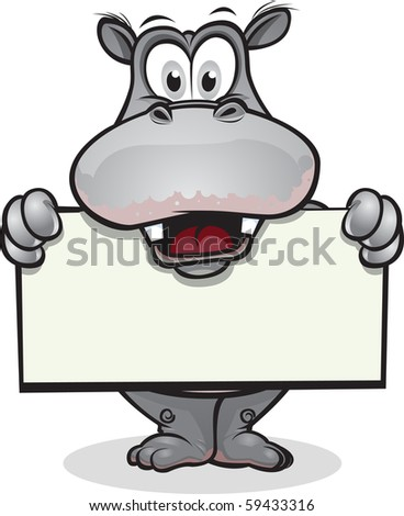 Hippo holding sign