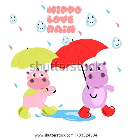 hippo  in the rain. vector cartoon illustration