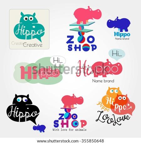 Hippo logo. Animal logo. Zoo hand made icons. Hippopotamus label. Color logos with the Hippo. Set of hippo logotype. Hippo sign, icon hand made. Hippopotamus brand logo