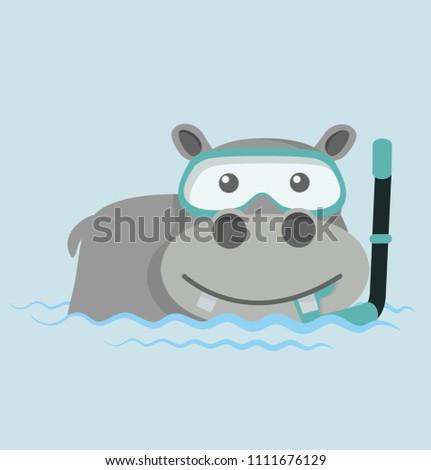 Hippo Snorkeling in water