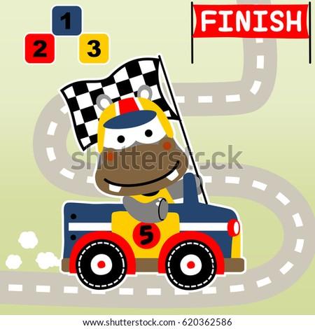 hippo the winner of race car, vector cartoon