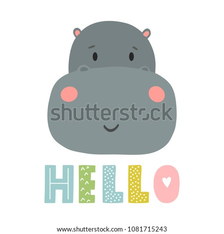 Hippo vector cartoon illustration. Cute animal poster design for greeting card, t-shirt, invitation, baby shower, birthday, room decor, print on the wall, pillow, decoration kids interior, baby wear