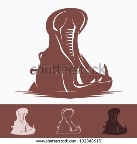 Hippo - vector illustration