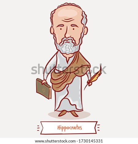 Hippocrates vector cartoon illustration. Greek philosopher and the father of modern medicine. Hippocrates Portrait. Famous people who changed the world.