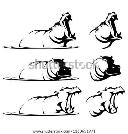 hippopotamus, hippo logo, dangerous animals, various emblem for your logo, set of hippopotamus in the water with an open mouth, hippo head, flat design, vector graphics to design