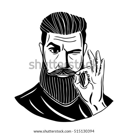 Hipster.A bearded man shows gesture Ok. This illustration can be used as a print on t-shirts and bags, stationary or as a poster. Vector illustration on isolated background.