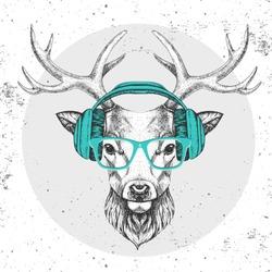 Hipster animal deer with headphones. Hand drawing Muzzle of animal deer