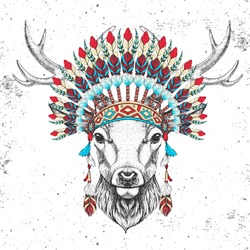 Hipster animal deer with indian feather headdress. Hand drawing Muzzle of animal deer
