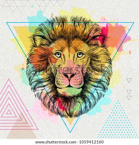 hipster animal lion on artistic