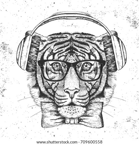 hipster animal tiger hand