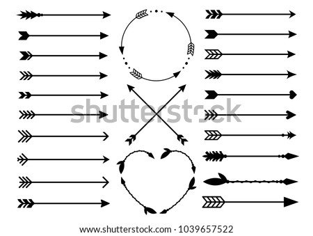 Hipster arrows. Arrows in boho style. Tribal arrows. Set of Indian style arrows. Vector collection #1039657522