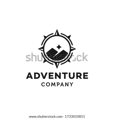 hipster badge adventure outdoor logo with Compass and mountain  design concept. Universal compass logo. Modern vintage retro concept