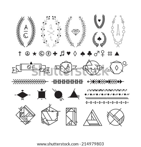 Hipster black and white graphic elements, peace, heart, plus, star, female, male, spade, diamond, club, note, registered trademark symbol, copyright, leaf