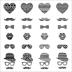 Hipster Black and White Retro Vintage Vector Icons with Geometric Hand Drawn Aztec Pattern Background