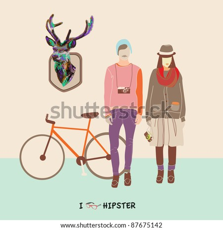 Hipster boy ang girl - fashionable youth - how to dress like hipster - stock vector