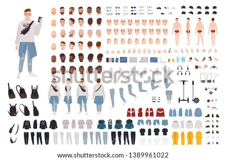 Hipster boy in trendy clothes constructor set or DIY kit. Guy in street style outfit. Bundle of body parts and accessories. Male cartoon character. Front, side, back views. Vector illustration.