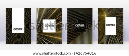 Hipster brochure design template set. Gold abstract lines on black background. Amazing brochure design. Fancy catalog, poster, book template etc.