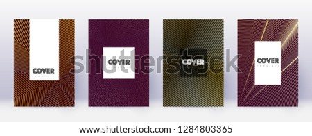 Hipster brochure design template set. Gold abstract lines on bordo background. Amazing brochure design. Noteworthy catalog, poster, book template etc.