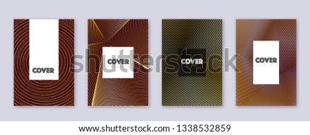Hipster brochure design template set. Gold abstract lines on bordo background. Amazing brochure design. Likable catalog, poster, book template etc.
