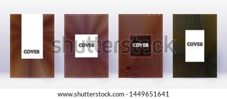 Hipster brochure design template set. Gold abstract lines on bordo background. Amazing brochure design. Magnetic catalog, poster, book template etc.