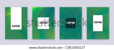 Hipster brochure design template set. Green abstract lines on dark background. Amazing brochure design. Precious catalog, poster, book template etc.