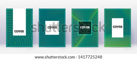 Hipster brochure design template set. Green abstract lines on dark background. Amazing brochure design. Resplendent catalog, poster, book template etc.