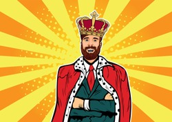 Hipster Business king. Businessman with beard and crown. Man leader, success boss, human ego. Vector retro pop art comic drown illustration.