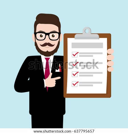 Hipster Businessman holding clipboard with completed checklist paper