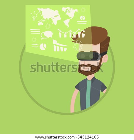 Hipster businessman wearing virtual reality headset, looking at digital display with business graphs and analyzing virtual data. Vector flat design illustration in the circle isolated on background.