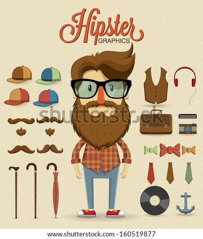 Hipster Design Elements Hipster Character Design With