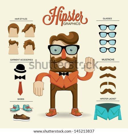 hipster character  vector