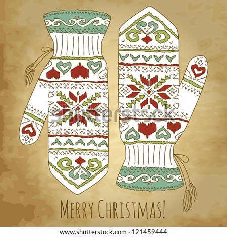 Hipster Christmas card with mittens - stock vector