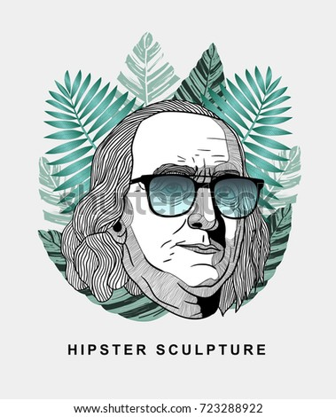 Hipster classical Sculpture. Benjamin Franklin with glasses. Summer style - palm leaf. T-Shirt Design & Printing, clothes, beachwear. Vector illustration hand drawn.