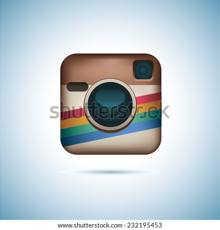 Hipster colorful realistic photo camera icon with shadow