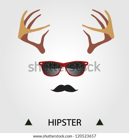 Hipster complete set: deer horns, hipster glasses, mustache