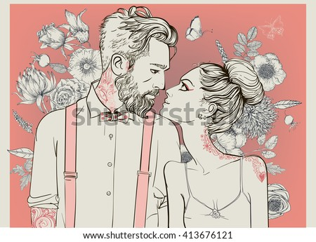 hipster couple with floral